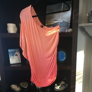 Maurices Ombré One-Sleeve Coral/Mango Top Med.